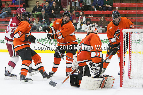 Brian Hart (Harvard - 39), Ryan Siiro (Princeton - 26), Ben Foster (Princeton - 22), Colton Phinney (Princeton - 33), Tommy Davis (Princeton - 25) - The Harvard University Crimson defeated the visiting Princeton University Tigers 5-0 on Harvard's senior night on Saturday, February 28, 2015, at Bright-Landry Hockey Center in Boston, Massachusetts.