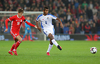(L-R) David Brooks of Wales and Fidel Escobar of Panama during the international friendly soccer match between Wales and Panama at Cardiff City Stadium, Cardiff, Wales, UK. Tuesday 14 November 2017.