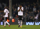 31st October 2017, Craven Cottage, London, England; EFL Championship football, Fulham versus Bristol City; Denis Odoi of Fulham with his face in his hands in dejection after the final whistle as Bristol City defeat Fulham at Craven Cottage by 0-2