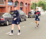 Colin Hendry walks back into Ibrox after training