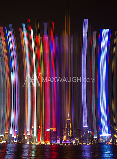 The Hong Kong skyline, as seen from Kowloon.  The effect was created in camera by panning the lens during a long exposure.