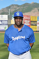 Justin Chigbogu (56) of the Ogden Raptors poses for a photo during media day on June 14, 2014 at Lindquist Field in Ogden, Utah. (Stephen Smith/Four Seam Images)