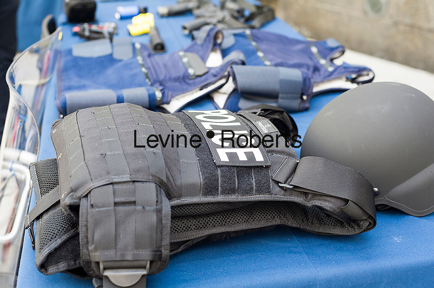 Police body armor on display while New York Mayor Bill de Blasio and NYPD Commissioner William Bratton brief the media about improvements to police equipment on Monday, July 25, 2016 at the 84th Precinct in Brooklyn in New York. (© Frances M. Roberts)