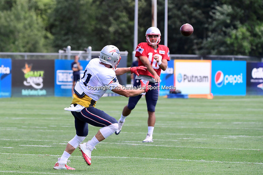 Monday, August 8, 2016: New England Patriots quarterback Jimmy Garoppolo (10) throws a pass to wide receiver Julian Edelman (11) during a joint training camp session between the Chicago Bears and the New England Patriots held at Gillette Stadium in Foxborough Massachusetts. Eric Canha/CSM