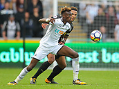 10th September 2017, Liberty Stadium, Swansea, Wales; EPL Premier League football, Swansea versus Newcastle United; Tammy Abraham of Swansea City and Jamaal Lascelles (captain) of Newcastle United battle for possession during the match