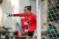 Seattle, Washington - Saturday, July 2nd, 2016: Boston Breakers goalkeeper Jami Kranich (2) directs her teammates during a regular season National Women's Soccer League (NWSL) match between the Seattle Reign FC and the Boston Breakers at Memorial Stadium. Seattle won 2-0.