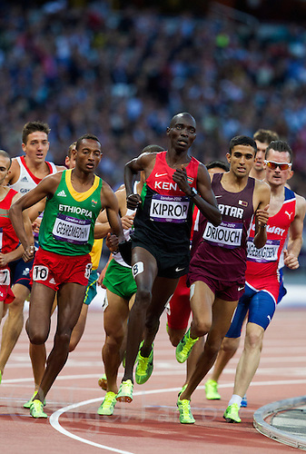 05 AUG 2012 - LONDON, GBR - Asbel Kiprop (KEN) (centre) of Kenya  during his London 2012 Olympic Games men's 1500m semi final in the Olympic Stadium at the Olympic Park in Stratford, London, Great Britain (PHOTO (C) 2012 NIGEL FARROW)