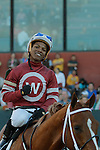 Jockey Ricardo Santana, Jr. after the running of the Southwest Stakes (Grade III) at Oaklawn Park in Hot Springs, Arkansas on February 17, 2014. (Credit Image: © Justin Manning/Eclipse/ZUMAPRESS.com)