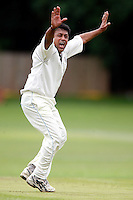 M Hassanain appeals for Harrow during the Middlesex County League Division two game between Highgate and Harrow at Park Road, Crouch End on Sat Jun 25, 2011