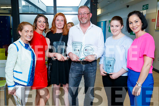 Corinne Evans, Linda O'Shea Dowling, Evgeniya Rodima (Academic award Art and Design), Gary Hewitt (Carers academic and mature student) with Claire Murphy (Sports Therapy) and Brenda McEvoy, pictured at the Kerry College of Further Education awards night on Thursday May 31st last.