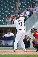 Jason Coats (17) of the Charlotte Knights at bat against the Gwinnett Braves at BB&T BallPark on May 22, 2016 in Charlotte, North Carolina.  The Knights defeated the Braves 9-8 in 11 innings.  (Brian Westerholt/Four Seam Images)