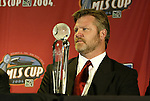 12 November 2004: The Columbus Crew's Greg Andrulis was named 2004 MLS Coach of the Year. Major League Soccer held their annual pre-MLS Cup press conference at the Home Depot Center in Carson, CA two days before the Kansas City Wizards were scheduled to play DC United in the league's annual championship game..