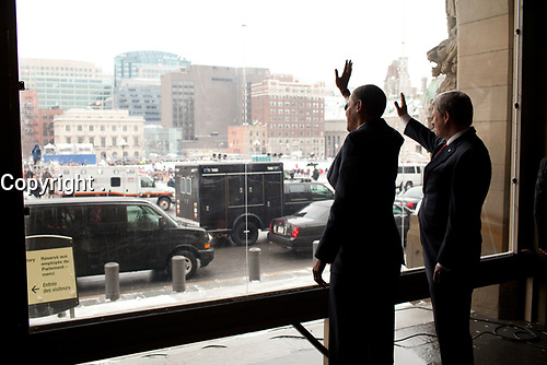 President Barack Obama and Canadian Prime Minister Stephen Harper wave following an arrival celebration on Parliament Hill in Ottawa, Canada 2/19/09, during the President's first official foreign trip. <br /> Official White House Photo by Pete Souza