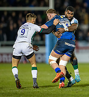 6th March 2020; AJ Bell Stadium, Salford, Lancashire, England; Premiership Rugby, Sale Sharks versus London Irish; Jean-Luc du Preez of Sale Sharks is tackled by Ben Meehan of London Irish