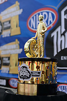 Sept. 14, 2012; Concord, NC, USA: Detailed view of NHRA championship trophy during qualifying for the O'Reilly Auto Parts Nationals at zMax Dragway. Mandatory Credit: Mark J. Rebilas-