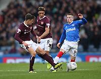 3rd November 2019; Hampden Park, Glasgow, Scotland; Scottish League Cup Football, Rangers versus Heart of Midlothian; Aaron Hickey of Heart of Midlothian tackles Ryan Kent of Rangers - Editorial Use