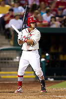 Jose Garcia (3) of the Springfield Cardinals at bat during a game against the Northwest Arkansas Naturals and the Springfield Cardinals at Hammons Field on July 30, 2011 in Springfield, Missouri. Springfield defeated Northwest Arkansas 11-5. (David Welker / Four Seam Images)