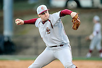 Starting pitcher John Gorman (12) of the Boston College Eagles delivers a pitch in a game against the Wofford College Terriers on Friday, February 13, 2015, at Russell C. King Field in Spartanburg, South Carolina. Wofford won, 8-4. (Tom Priddy/Four Seam Images)