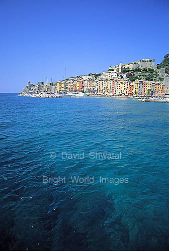 The Bright Colors of the waters, boats and facades of Portovenere on the Italian Riviera near the Cinque Terre.