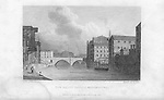 Nineteenth century engraving from 1829, New Bailey Bridge, Manchester, England, UK drawn by W. Westall