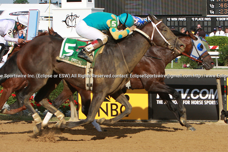 Alternation & Luis Quinones holds off a hard charging Nehro to win the Grade III Pimlico Special for 3-year old & up, going 1 3/16 miles at Pimlico.  Trainer Donnie Von Hemel. OwnerPin Oaks Stable.