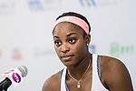 Sloane Stephens of United Sates talks with media during post game press conference after the singles Round Robin match of the WTA Elite Trophy Zhuhai 2017 against Barbora Strycova of Czech Republic at Hengqin Tennis Center on November  03, 2017 in Zhuhai, China.  Photo by Yu Chun Christopher Wong / Power Sport Images