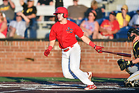 Johnson City Cardinals Mateo Gil (23) swings at a pitch during game three of the Appalachian League, West Division Playoffs against the Bristol Pirates at TVA Credit Union Ballpark on September 1, 2019 in Johnson City, Tennessee. The Cardinals defeated the Pirates 7-5 to win the series 2-1. (Tony Farlow/Four Seam Images)