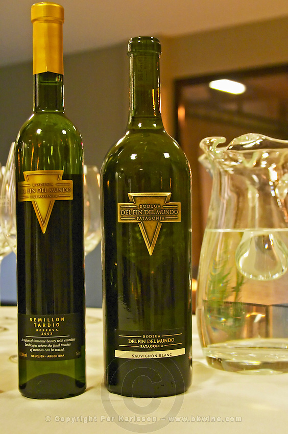 Bottle of Semillon tardio sweet late harvest, and sauvignon blanc Bodega Del Fin Del Mundo - The End of the World - Neuquen, Patagonia, Argentina, South America