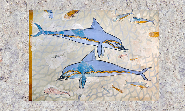 The Minoan 'Dolphin Fresco' wall art from the Queen's Megaron, Knossos Palace, 1600-1450 BC. Heraklion Archaeological Museum.<br /> <br /> Two dolphins are depicted swimming amongst small fish .