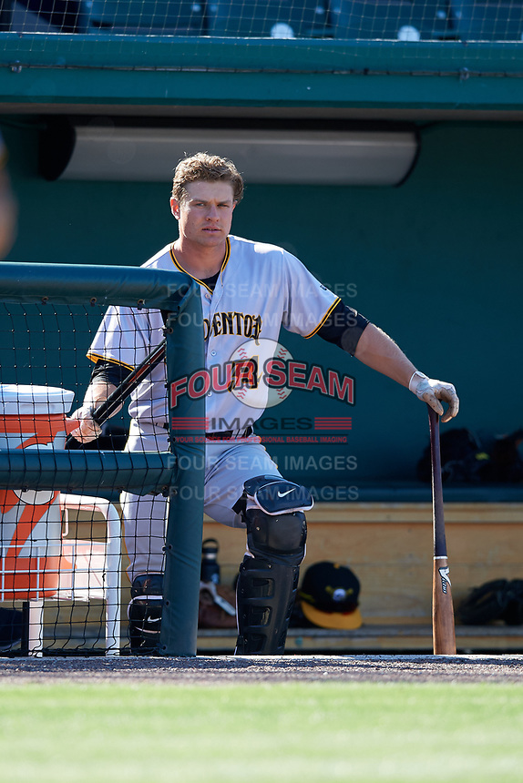 Bradenton Marauders catcher Arden Pabst (34) in the dugout during the first game of a doubleheader against the Lakeland Flying Tigers on April 11, 2018 at Publix Field at Joker Marchant Stadium in Lakeland, Florida.  Lakeland defeated Bradenton 5-4.  (Mike Janes/Four Seam Images)