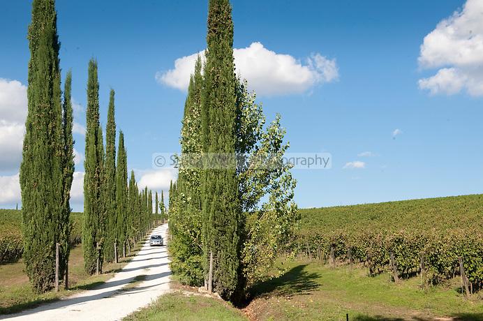 Entrance to Stefano Amerighi biodynamic winery, at Poggiobello di Farneta, near Cortona, Tuscany, Italy
