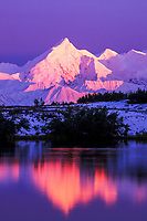 Pink alpenglow on the snow covered mount Brooks (left) of the Alaska Range mountains. reflection in reflection pond, Denali National Park, Alaska.