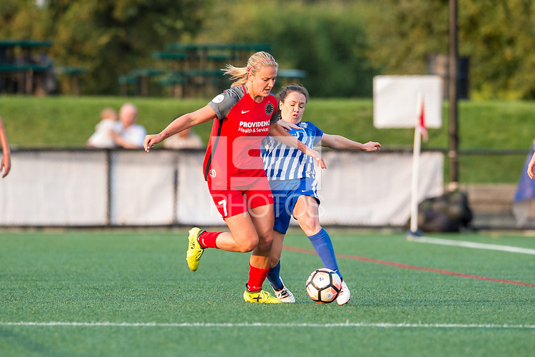 Boston, MA - Sunday September 10, 2017: Lindsey Horan and Allysha Chapman during a regular season National Women's Soccer League (NWSL) match between the Boston Breakers and Portland Thorns FC at Jordan Field.