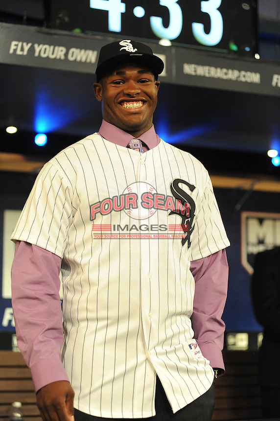 Outfielder Courtney Hawkins (Carroll H.S.) the number thirteen overall pick to the Chicago White Sox during the MLB Draft on Monday June 04,2012 at Studio 42 in Secaucus, NJ.   (Tomasso DeRosa/ Four Seam Images)