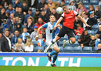 Luton Town's James Bree under pressure from Blackburn Rovers' Sam Gallagher<br /> <br /> Photographer Kevin Barnes/CameraSport<br /> <br /> The EFL Sky Bet Championship - Blackburn Rovers v Luton Town - Saturday 28th September 2019 - Ewood Park - Blackburn<br /> <br /> World Copyright © 2019 CameraSport. All rights reserved. 43 Linden Ave. Countesthorpe. Leicester. England. LE8 5PG - Tel: +44 (0) 116 277 4147 - admin@camerasport.com - www.camerasport.com
