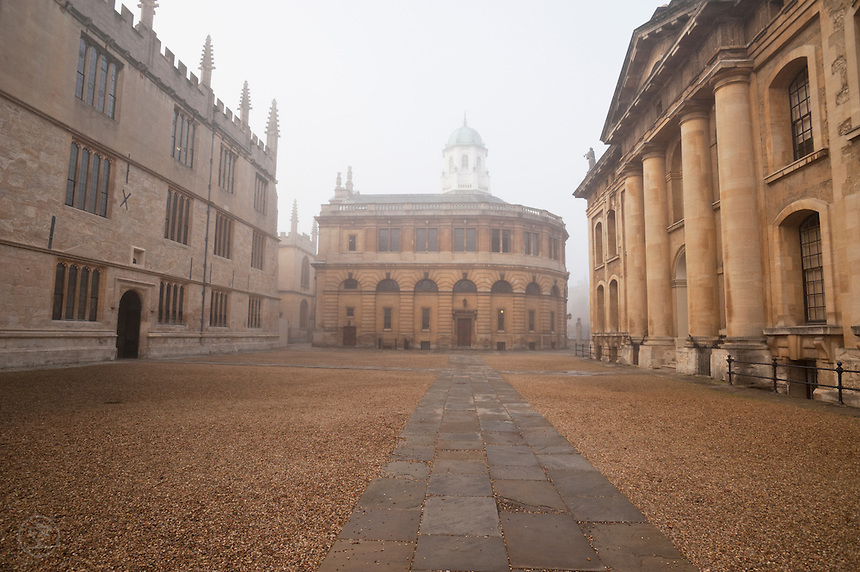 Oxford University's Sheldonian Theatre on a misty day.