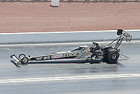 Apr. 7, 2013; Las Vegas, NV, USA: NHRA top fuel dragster driver Brittany Force on her way to her first National Event round win during the Summitracing.com Nationals at the Strip at Las Vegas Motor Speedway. Mandatory Credit: Mark J. Rebilas-