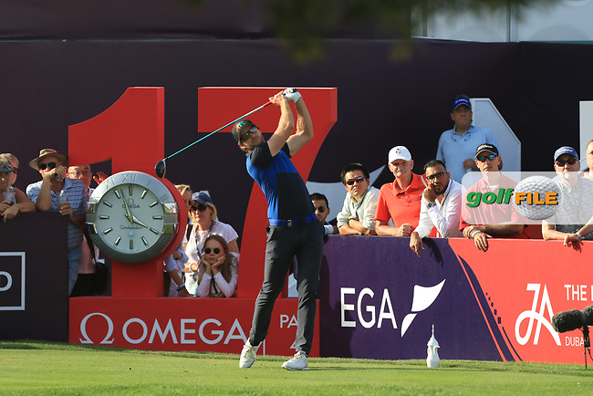 Kalle Samooja (FIN) on the 17th tee during Round 4 of the Omega Dubai Desert Classic, Emirates Golf Club, Dubai,  United Arab Emirates. 27/01/2019<br /> Picture: Golffile | Thos Caffrey<br /> <br /> <br /> All photo usage must carry mandatory copyright credit (© Golffile | Thos Caffrey)