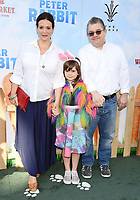 LOS ANGELES, CA - FEBRUARY 03: (L-R) Actor Meredith Salenger, Alice Oswalt and actor Patton Oswalt arrive at the Premiere Of Columbia Pictures' 'Peter Rabbit' at The Grove on February 3, 2018 in Los Angeles, California.<br /> CAP/ROT/TM<br /> &copy;TM/ROT/Capital Pictures