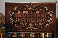 The scoreboard displays the Florida Fire Frogs logo for their inaugural season during a game against the Daytona Tortugas on April 6, 2017 at Osceola County Stadium in Kissimmee, Florida.  Daytona defeated Florida 3-1.  (Mike Janes/Four Seam Images)