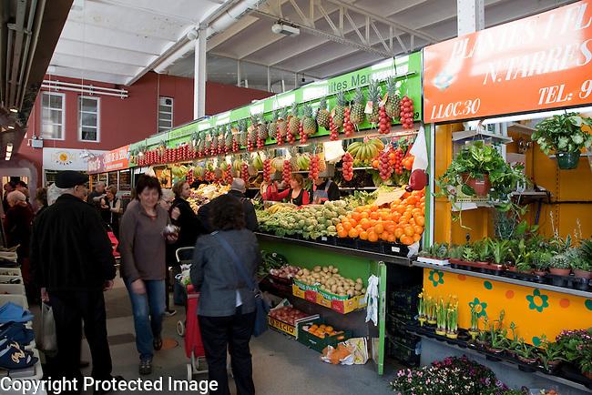 Interior of Girona Lleo Market in Catalonia, Spain