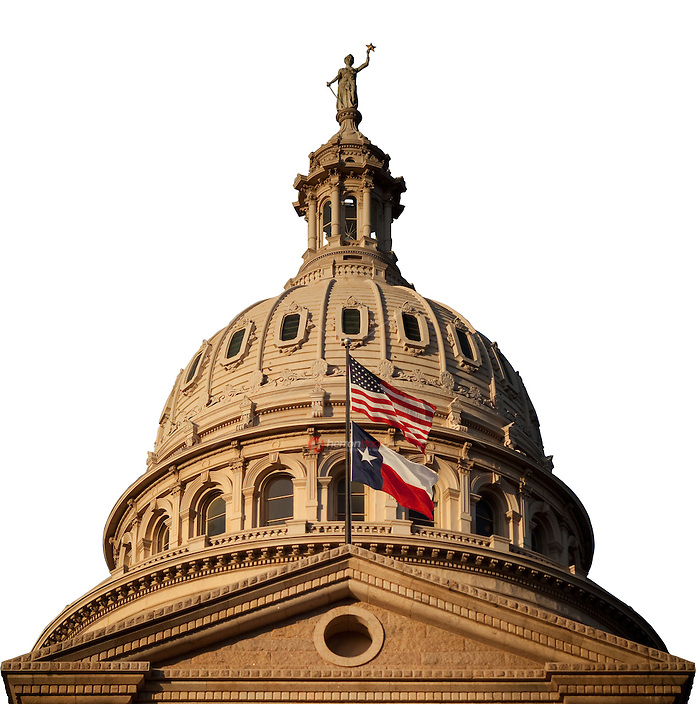 Texas State Capitol Dome with background removed and saved with Clipping Path for insertion in to graphic design ads.