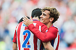 Antoine Griezmann of Atletico Madrid celebrates with Diego Godín  during their La Liga match between Atletico Madrid and Deportivo de la Coruna at the Vicente Calderon Stadium on 25 September 2016 in Madrid, Spain. Photo by Diego Gonzalez Souto / Power Sport Images