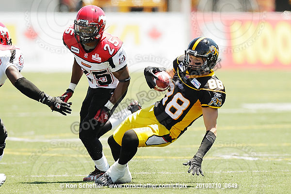 July 10, 2010; Hamilton, ON, CAN; Hamilton Tiger-Cats wide receiver Dave Stala (88). CFL football: Calgary Stampeders vs. Hamilton Tiger-Cats at Ivor Wynne Stadium. The Tiger-Cats lost against the Stampeders 23-22. Mandatory Credit: Ron Scheffler. Copyright (c) 2010 Ron Scheffler.