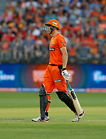 26th December 2019; Optus Stadium, Perth, Western Australia, Australia;  Big Bash League Cricket, Perth Scorchers versus Sydney Sixers; Cameron Green of the Perth Scorchers walks off after  he disputed the umpires descision - Editorial Use