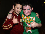 Shaun Quinn and Shawn Tobin pictured at the Collon children's Christmas Disco. Photo:Colin Bell/pressphotos.ie