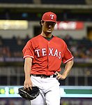 Yu Darvish (Rangers),<br /> JULY 9, 2014 - MLB :<br /> Yu Darvish of the Texas Rangers looks dejected as he is pulled after the sixth inning during the Major League Baseball game against the Houston Astros at Globe Life Park in Arlington in Arlington, Texas, United States. (Photo by AFLO)