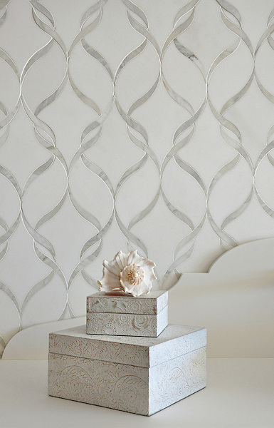 Sophie, a handmade mosaic shown in polished Calacatta Tia  and honed Thassos, is part of the Silk Road Collection by Sara Baldwin for New Ravenna. <br /> <br /> For pricing samples and design help, click here: http://www.newravenna.com/showrooms/