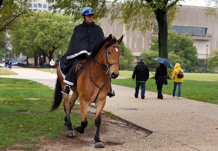 UNITED STATES - OCTOBER 04:  A U.S. Park Police officer patrols the mall on horseback on a rainy Monday. (Photo By Tom Williams/Roll Call via Getty Images)