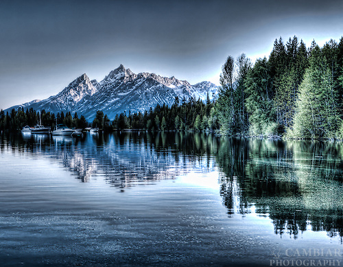 Colter Bay, in Grand Teton National Park, at sunset.